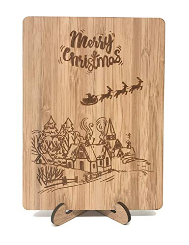 Merry Christmas Post Cards : Real Bamboo Happy Holidays Post Card. Festive Christmas Village Design. Perfect Gift For Sending Xmas Or Season`s Greetings To Husband, Wife, Parents, Her, Him And Friends