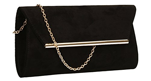 Suede Clutch Swankyswans Prom Look Black Women's Sabrina Party Bag EYrqYZ