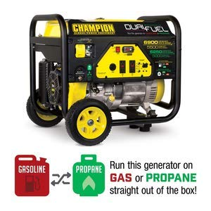Champion 5500-Watt Dual Fuel Portable Generator with Wheel - Home Generator Propane