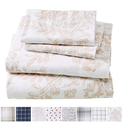 Great Bay Home Extra Soft Toile 100% Turkish Cotton Flannel Sheet Set. Warm, Cozy, Lightweight, Luxury Winter Bed Sheets. Belle Collection (King, Mauve - Set Sheet Bay
