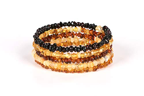- AMBERAGE Natural Baltic Amber Bracelet for Adults - Hand Made from Polished/Certified Baltic Amber Beads(Multi)