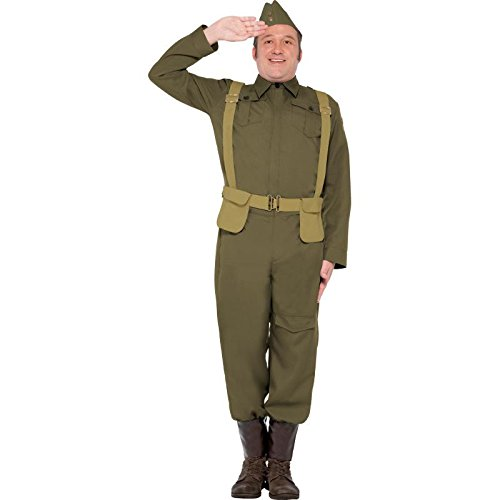 War 2 Costume World Private (Smiffy's Men's WW2 Home Guard Private Costume, pants Ankle Covers, Jacket, Hat and Harness Belt, Wartime 40's, Serious Fun, Size XL,)