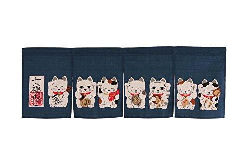 Noren (Japanese Curtain) seven Beckoning Cat/Maneki Neko 17-507 85×30cm from Japan -