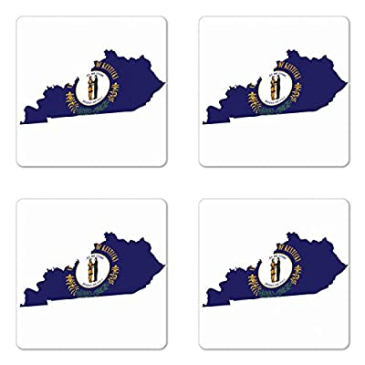 Lunarable Kentucky Coaster Set of Four, Map with Flag of Bluegrass State United We Stand Divided We Fall Motto, Square Hardboard Gloss Coasters for Drinks, Cobalt Blue Multicolor