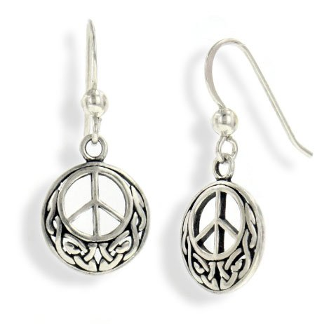 (Celtic Knot and Peace Sign Symbol Sterling Silver Hook Earrings)