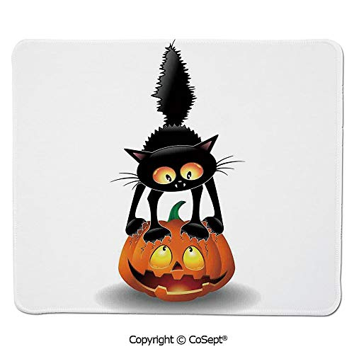 (Gaming Mouse Pad,Black Cat on Pumpkin Spooky Cartoon Characters Halloween Humor Art,for Laptop,Computer & PC (15.74