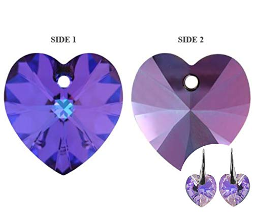 8pcs Crystal Heliotrope 001hel Heart Xilion Pendant Glass Crystals 6228 Swarovski Stone Chatons Faceted Rhinestones 10.3mm x 10mm