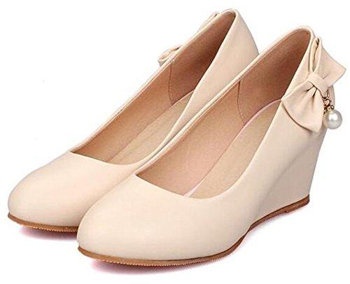 Easemax Femmes Élégantes Bout Rond Wedges Talon Moyen Pompes Chaussures Abricot