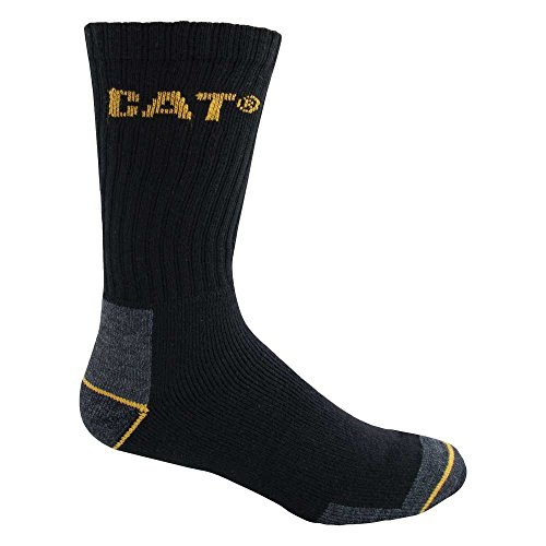 Caterpillar Men's Real Work Sock 3 Pack, Black, Sock Size: 10-13/Shoe Size:9-11 from Caterpillar