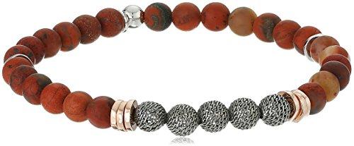 - Tateossian Stonehenge Ruthenium Mesh Bead Rose Gold and Rhodium Discs 6 mm Rainbow Jasper Red Bracelet, Medium
