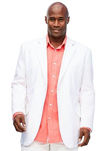 Blend Suit Jacket (Kings' Court Men's Big & Tall Linen Blend Two-Button Suit Jacket, White Big-56)