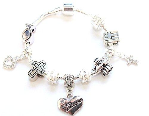 - Girls First Communion Bracelet. Holy Communion Keepsake Silver Plated Charm Bracelet. First Communion Gifts, First Communion Jewelry (6.3in/16cm/2-8yrs)