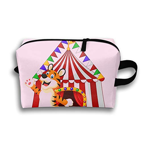 Happy Tiger Animal With Circus Tent Pencil Case Pen Zipper Bag Coin Organizer Makeup Costmetic Bag - Tent Tigers