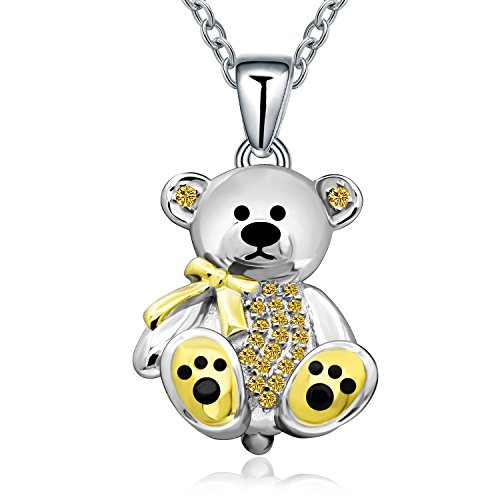 Teddy Bear Gift for Women Girl Sterling Silver Cute Animal Crystal Bear Pendant Necklace for Mother Daughter Birthday-Party (Yellow Crystal)