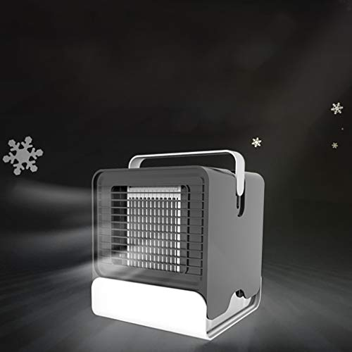 Excursion Home Portable Air Conditioner Fan Personal Evaporative Air Cooler Humidifier, Purifier, Mini USB Desktop Cooling Fan, Energy Efficien with Night Light for Office Bedroom Travel (Black)