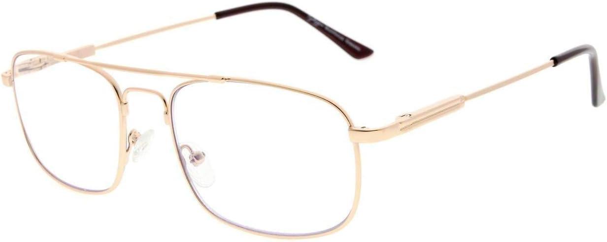 Eyekepper 3 niveles visión multienfoque gafas de lectura protección UV lectores progresistas hombres mujeres flexible marco de memoria (Oro, 2.50)