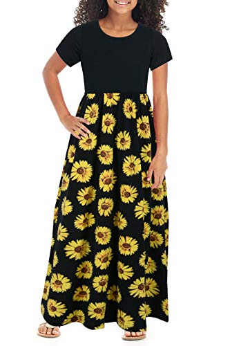 GORLYA Girl's Short Sleeve Patchwork Floral Print Loose Casual Long Maxi Dress with Pockets for 4-12 Years Kids (GOR1012,6-7Y,Yellow Flower)