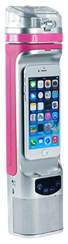 Next Bottle NBC1.2SPK NBC1.2 All-in-One Bluetooth Speaker, Powerbank, PhoneDock, Speakerphone, LCD, Freezable Gel Water Bottle, 10oz, 10 oz Size, Pink