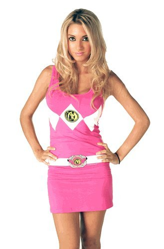 The Power Rangers Pink Tunic Tank Dress with Socks (Juniors Large)