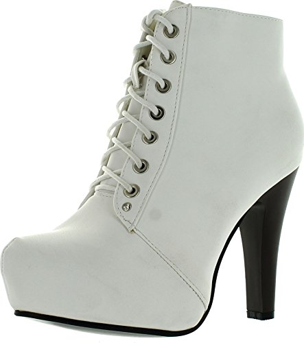 Top Moda Polish-6 Womens Lace-Up Hidden Platform Ankle Boots,White,7.5 (White Boot Tops)