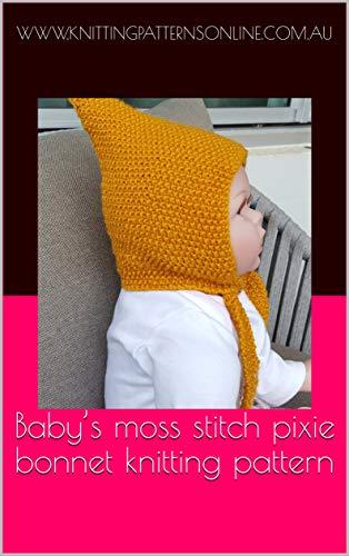 Baby's moss stitch pixie beanie knitting pattern - Cherry