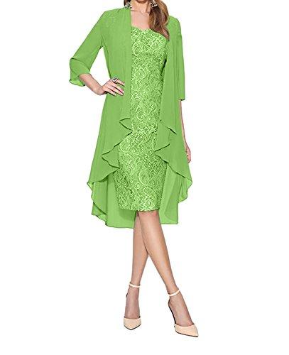 Partykleider Abendkleider Knielang Brautmutterkleider mit Langarm Etuikleider Grün Grau Spitze Damen Charmant YUwHPx