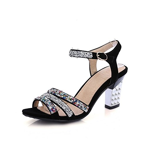 AllhqFashion Women's Buckle Open Toe High Heels PU Assorted Color Sandals Black 9E3dmcET
