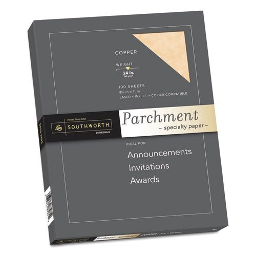 Parchment Specialty Paper, Copper, 24 lbs., 8-1/2 x 11, 100/Box, Sold as 100 Sheet ()
