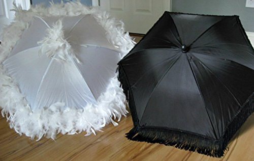 New Orleans Wedding Second Line Umbrellas with Feathers or Fringe Mr. and Mrs. Set of 2 MEDIUM 19