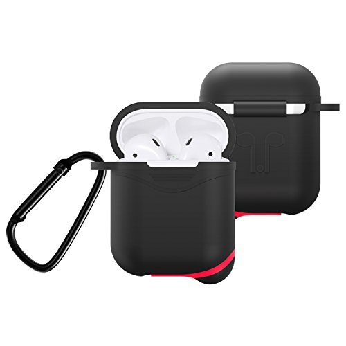 Silicone Cover for Apple AirPods 2/1 Charging Case, Crash Scratch Resistant Silicon Skin with Keychain for Air Pods Earbuds Case (Black) (Apple Earbud Case)