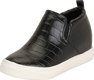 Cambridge Select Women's Stretch Slip-On Chunky Platform Low Hidden Wedge Fashion Sneaker, 6 B(M) US, Crocodile PU