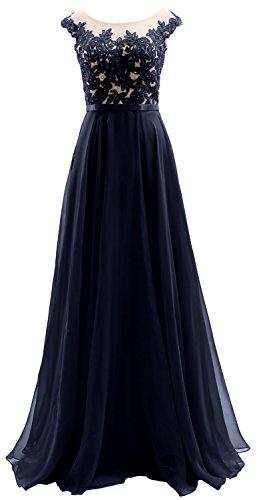 Macloth Prom Sleeves Long Dark Wedding Illusion Dress Party Cap Chiffon Lace Navy 6fxrq16