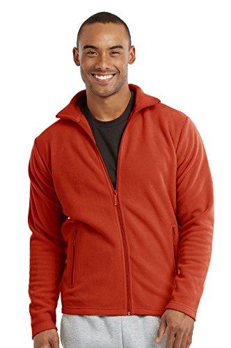 Men's Polar Fleece Zip Up Jacket (M, Orange)