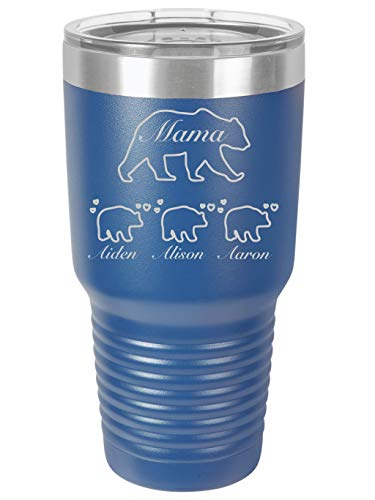 (Personalized Mama Bear -30 ounce Double wall vacuum insulated tumbler - Tons of colors by Griffco Supply (Royal Blue))