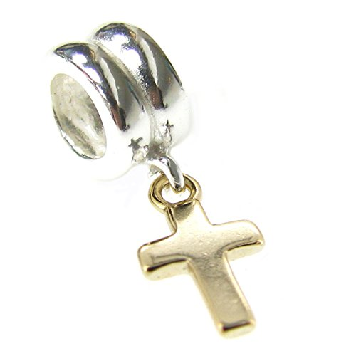 Queenberry 14K Gold 925 Sterling Silver Little Cross Dangle For