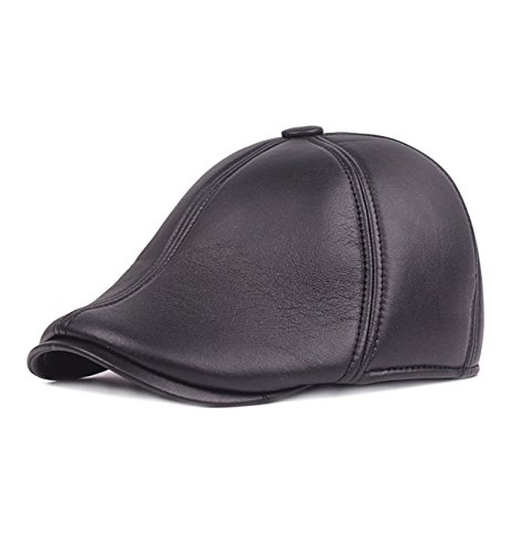 Sumolux Mens Ear Flap PU Leather Beret Hat Faux Mink Fur newsboy IVY Cabbie (Fur Newsboy)