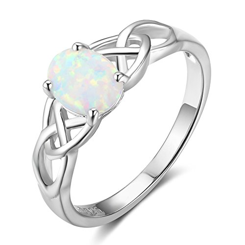 (Furious Jewelry 925 Sterling Silver Oval Created Opal Trinity Celtic Knot Band Ring, Size 6 7 8 (8))