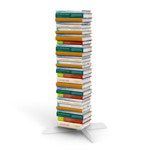 Bücherstapelregal freistehend mit unsichtbaren Bücherregalen 3er-Set klein in weiss für ca. 115 cm Büchersäule