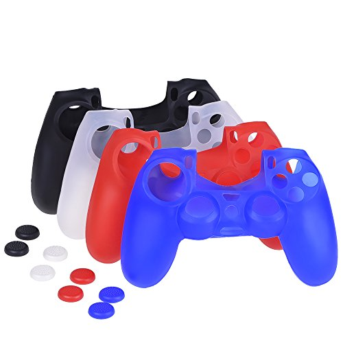 Mudder-4-Colors-Silicone-Skin-Protector-Cover-Case-for-PS4-Controller-with-4-Pairs-of-Matching-Thumb-Grips