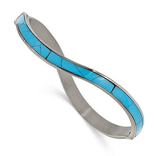 (Chisel Stainless Steel Polished Imitation Turquoise Hinged Bangle)