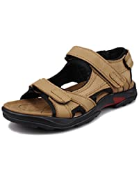 Fangsto Men's Leather Outdoor Athletic Flat Strappy Walking Sandals