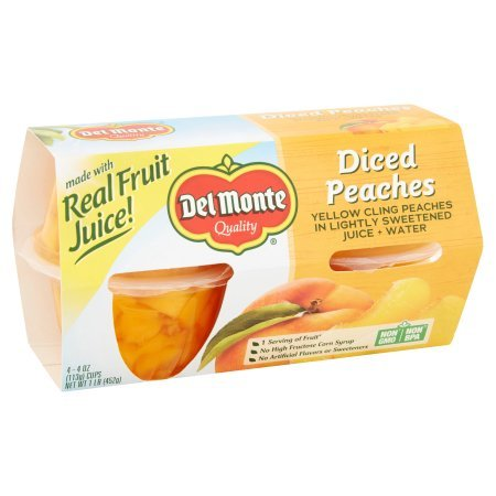 Del Monte Diced Peaches In Light Syrup 4 - 4 oz cups (pack of 2)