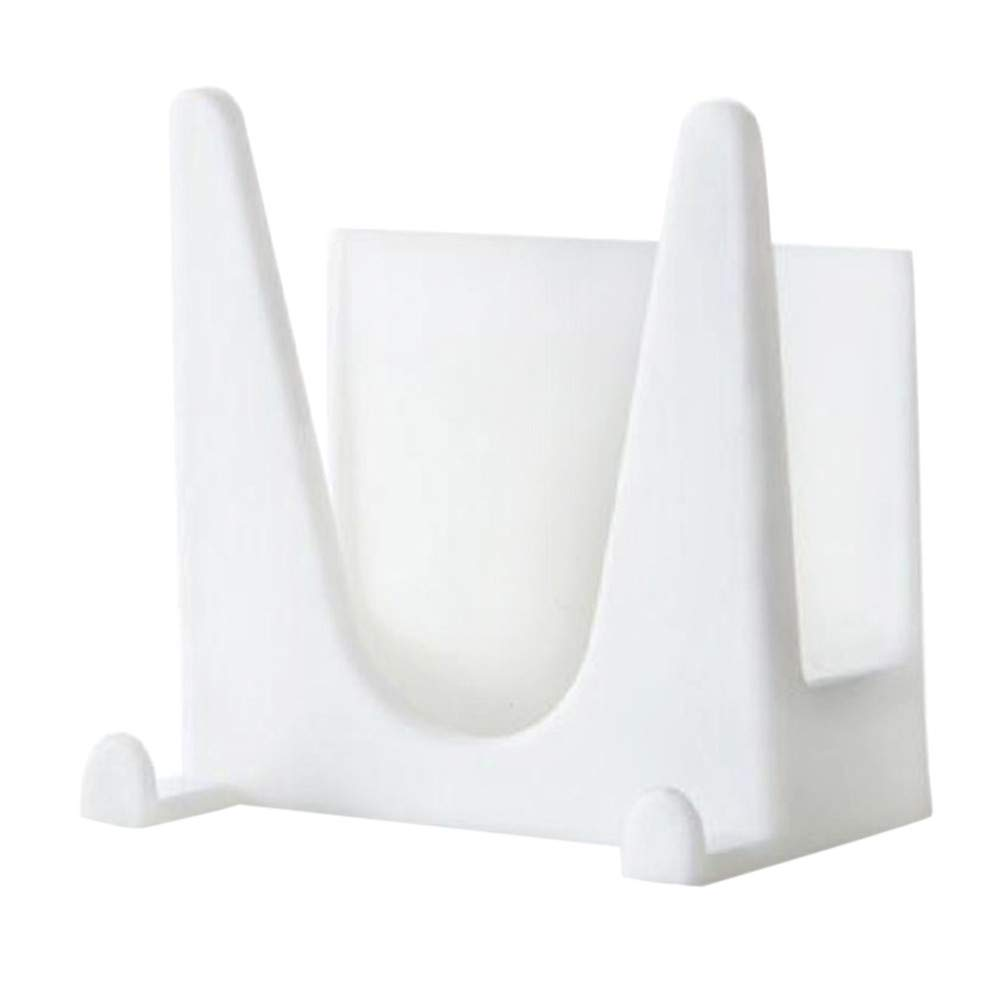 Tuscom Wall-Mounted Lid Plastic Sucker Storage Rack,6 x 4 x 6cm for Kitchen Bathroom Shelves Storage Holders Rack (White)