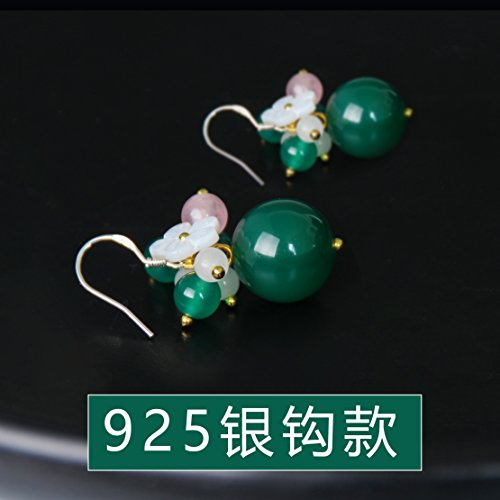Fashion style green agate earrings small flower earrings women