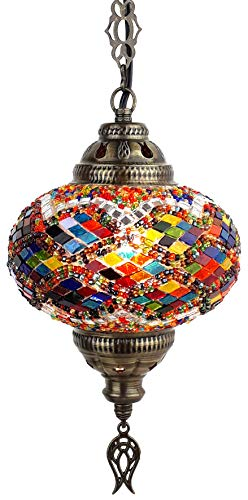 (20 Colors) DEMMEX 2019 Hardwired or Swag Plug in Turkish Moroccan Mosaic Ceiling Hanging Light Lamp Chandelier Pendant Fixture Lantern, Hardwired OR Plug in with 15feet Cord & Chain (PlugIn1)