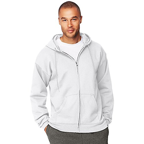 Pullover Hooded Cotton Ultimate (Hanes Men's Ultimate Cotton Heavyweight Full Zip Hoodie_White_XL)