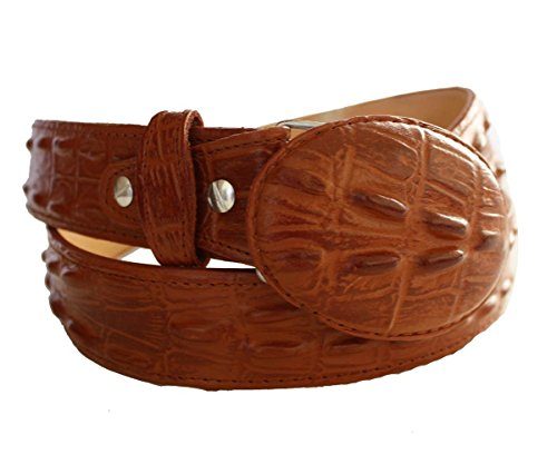 Men Genuine Leather Crocodile Print Heavy Leather Belt with Removable Buckle_Cognac_32 ()