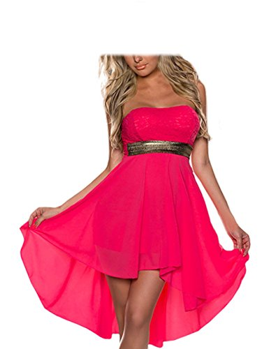 FASHION LOVER Women's Strapless High Low Cocktail Prom Dress Size XXL Hot Pink (Strapless Dress Xxl)