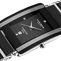 Akribos XXIV - Reloj de pulsera de cuarzo rectangular de cerámica AK521BK para hombre