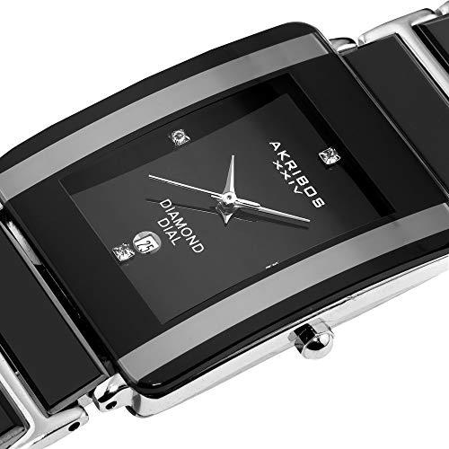 Akribos XXIV Men's AK521BK Ceramic Rectangular Quartz Bracelet Watch